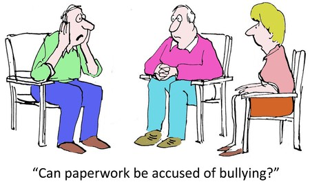 bossy: Can paperwork be accused of bullying