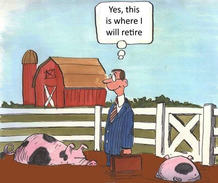 prendre sa retraite: Oui, c'est l� que je vais prendre sa retraite Banque d'images