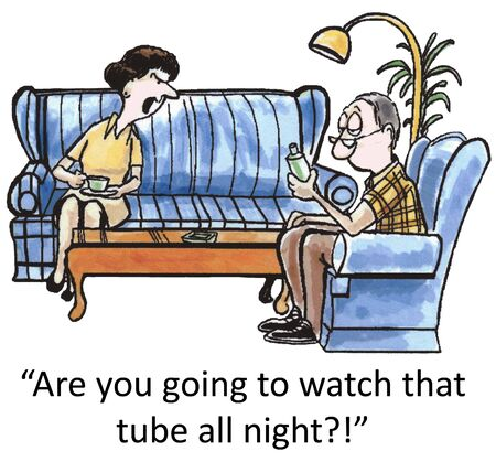 darn: Are you going to watch that darn tube all night?! Stock Photo