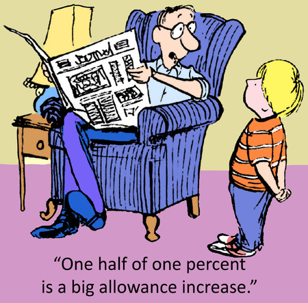cartoon reading: When you learn fractions youll know that one half of one percent is a big allowance increase. Stock Photo