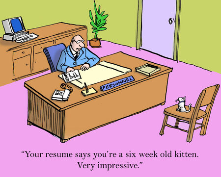 comix: Your resume says youre a six week old kitten. Very impressive. Stock Photo
