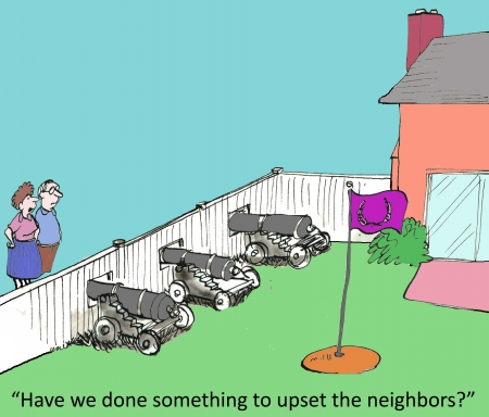 Have we done something to upset the neighbors? Reklamní fotografie