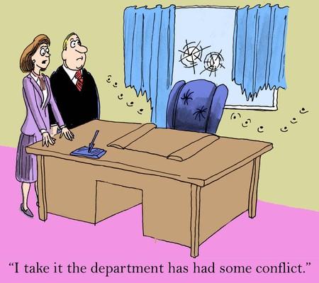 """argumento: """"Puedo entender que el departamento ha tenido algún tipo de conflicto."""""""