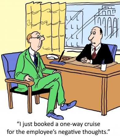 booked: I just booked a one way cruise for the employees negative thoughts. Stock Photo