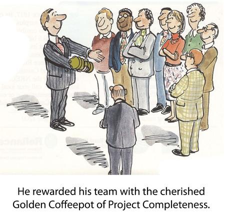 rewarded: Se premi� a su equipo con el preciado oro Coffeepot de Proyecto Integridad Foto de archivo