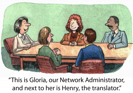 computer language:  This is Gloria, our Network Administrator, and next to her is Henry, the translator   Stock Photo