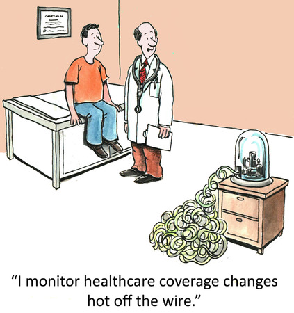 I monitor healthcare coverage changes hot off the wire    Stock Photo