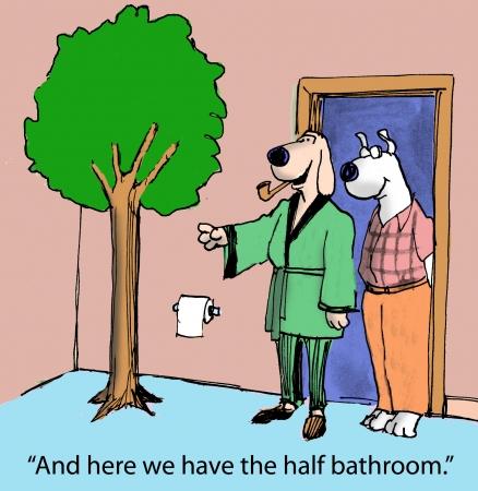 En hier hebben we de halve badkamer Stockfoto
