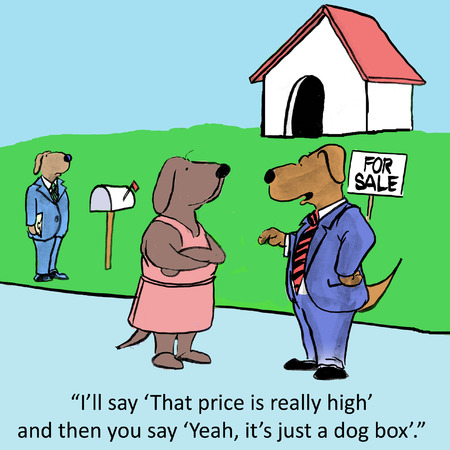 comix: Ill say That price is really high and then you say Yeah, its just a dog box. Stock Photo