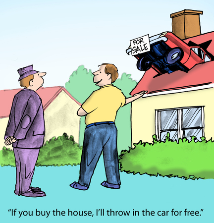 wrecked:  If you buy the house, I ll throw in the car for free   Stock Photo