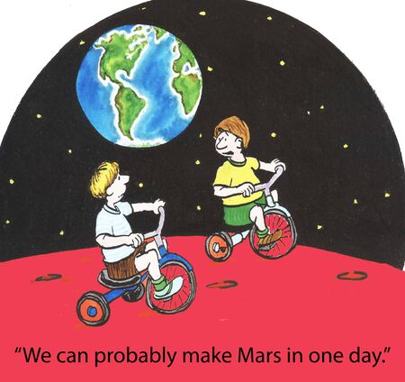We can probably make Mars in one day. photo