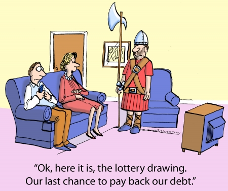 repossessed:  Ok, here it is, the lottery drawing  Our last chance to pay back our debt   Stock Photo