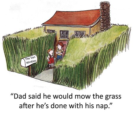 tall man:  Dad said he would mow the grass after he s done with his nap