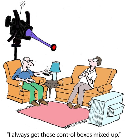 newspaper cartoons: I always get these control boxes mixed up