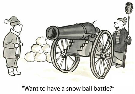 advantages: Want to have a snow ball battle  Stock Photo