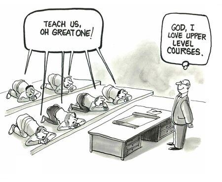 Teach us oh great one    God, I love upper level courses               Фото со стока