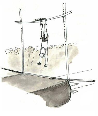 pole vault: Poor execution on pole vault         Stock Photo