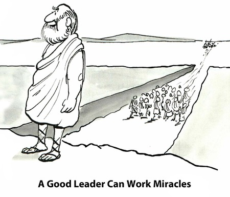 gag: A good leader can work miracles          Stock Photo