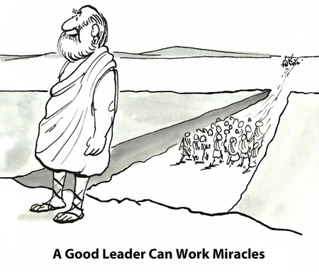 moses: Cartoon of businessman Moses in front of parted Red Sea, a great leader can work miracles.