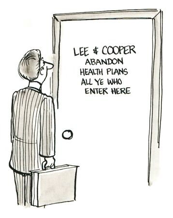 abandon: Cartoon of man looking at sign: abandon health plans all ye who enter here.