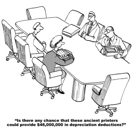 Cartoon of business meeting and accountant is trying to find $46 million in depreciation. photo