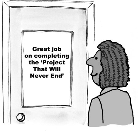 Cartoon of businesswoman looking at sign congratulations on completing the project that will never end.