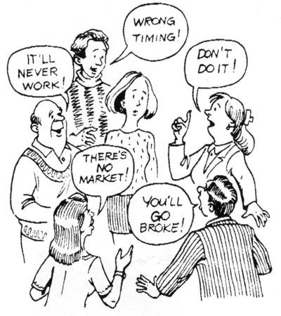 Desenhos animados do empreendedor da mulher recebendo maus conselhos. Banco de Imagens