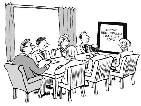Cartoon van de business team in de vergadering, is het gewoon veranderd in de hele dag lopen.