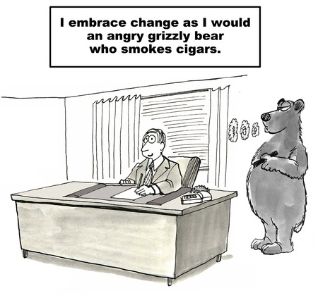 avoidance: Cartoon of businessman refusing change reality, he embraces it like he would an angry grizzly bear smoking a cigar.