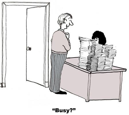 Cartoon van extreem drukke zakenvrouw, collega vraagt of ze in gesprek is.