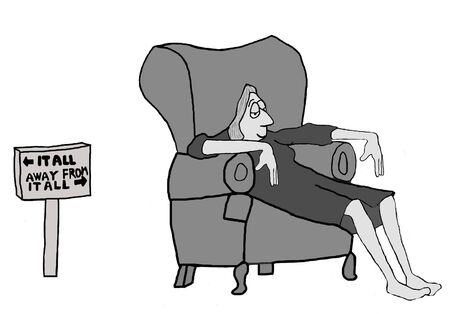 Cartoon of businesswoman who is relaxing, she can both get it all and get away from it all. Stock Photo