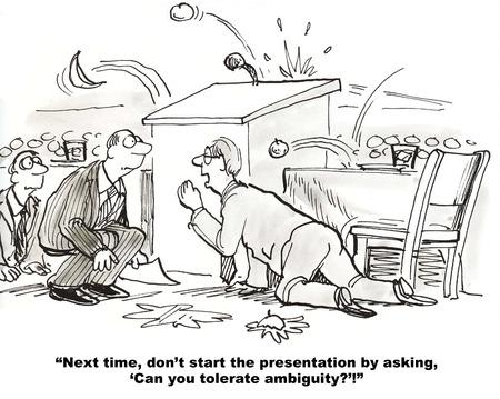 スピーチをしようとしているビジネスマンの漫画しますが、スピーチを始めた腐ったトマトを得ることのあい昧性を容認することができます。