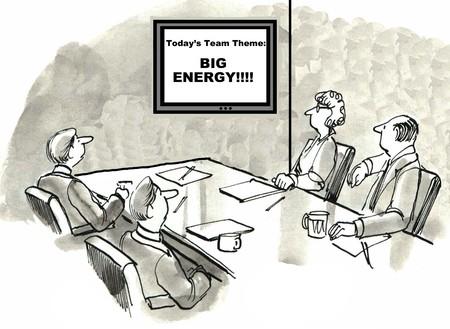 빅 에너지의 오늘의 테마로 회의에서 비즈니스 팀의 만화.
