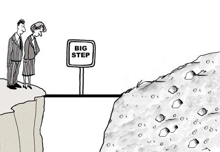 절벽에 서 서 다음 절벽을 가로 질러 찾고 두 비즈니스 사람들의 만화, 거기에 작은 다리, 그것은 큰 단계.