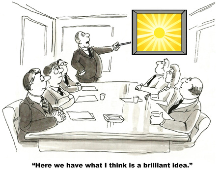 Cartoon of businessman pointing to chart, saying to team, this is a brilliant idea.