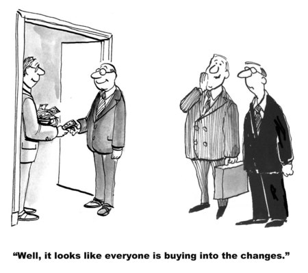Cartoon of business management paying employees cash to buy into changes.