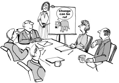 Cartoon of business people in meeting and leader is describing through chart visual of dog that change can be rough.
