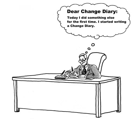 diary: Cartoon of businessman who is embracing change and has started a change diary.