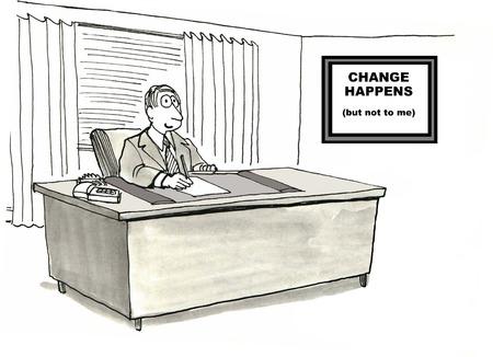 Cartoon van zakenman met bord dat zegt,