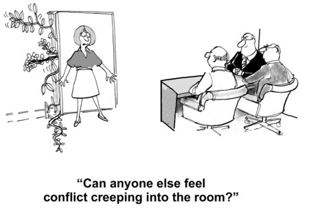 Cartoon of businesswoman walking into meeting, conflict is creeping into the room with her.