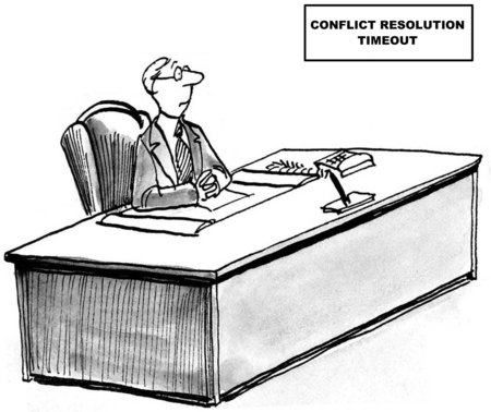 Cartoon of businessman who has been put into conflict resolution timeout. Banque d'images