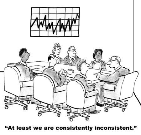 consistently: Cartoon of business people in meeting and chart that shows inconsistent financial results.