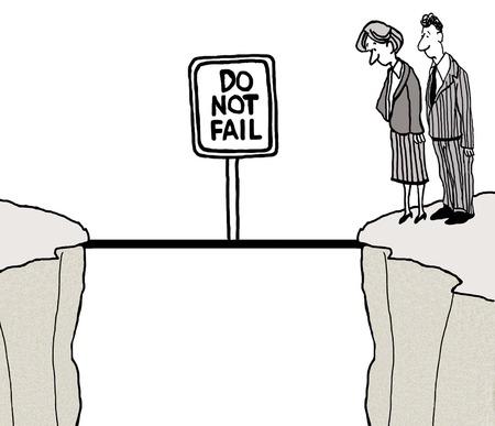 ビジネスマンの狭い橋の横にある崖の端を見下ろしての漫画。 失敗しない看板が。 写真素材