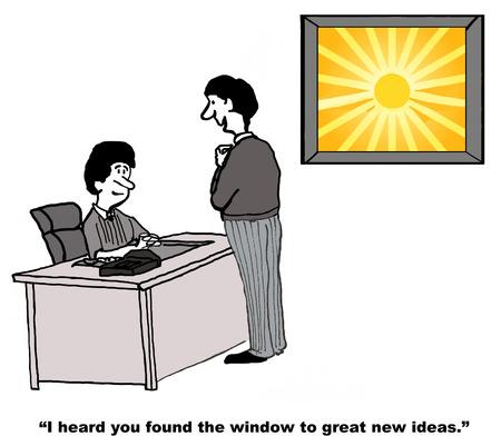 Cartoon of businessman saying to businesswoman he heard she has the window to great new ideas. Stok Fotoğraf - 36332398