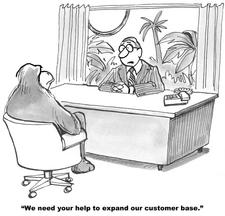 humor: Cartoon of businessman asking gorilla to help expand customer base in the jungle. Stock Photo
