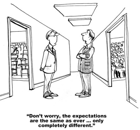 Cartoon of two teachers talking about how the expectations are the same as ever, only completely different.