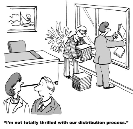 chaotic: Cartoon of two businessmen randomly throwing finished product out the window, businesswoman is not thrilled with their distribution process.