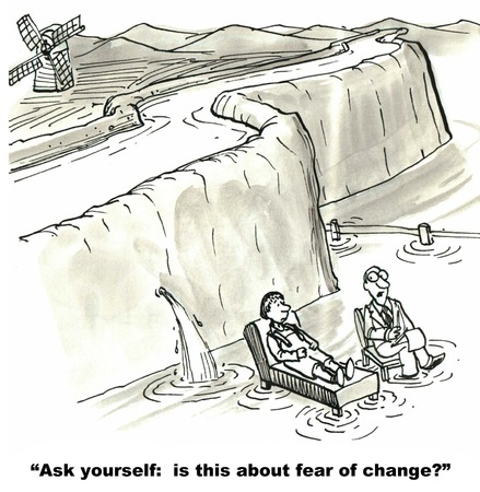 resisting: Cartoon of therapist asking Dutch Boy, is this about fear of change. Stock Photo