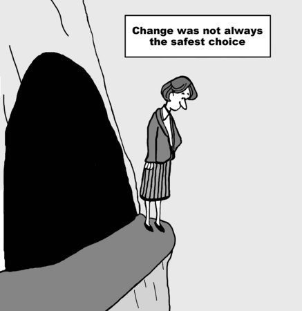 looking down: Cartoon of businesswoman on a cliff looking down, change was not always the safest choice.