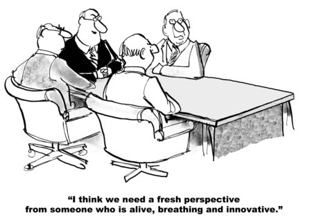 innovator: Cartoon of a business team that needs a new perspective, someone who is alive, breathing and innovative. Stock Photo